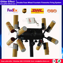 Double face wheel fountain fireworks fire system cold fountains fireworks firing machine remote control cold flame wheel