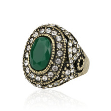 Green Ring European And American Popular Style Bulk Jewelry Lots Wholesale Rings Party Gifts Crystal