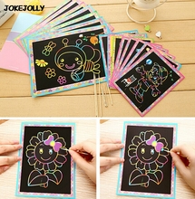 5pcs Small and Large size Two-in-one Magic Color Scratch Art Paper Coloring Cards Scraping Drawing Toys for Children kids GYH