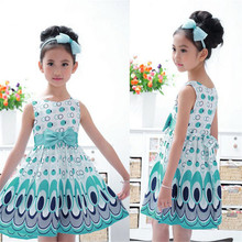 2017 New Trendy Soft baby girl 2 colors Dress New Kids Girls Bow Belt Sleeveless Bubble Peacock Dress Party Clothing