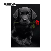 ZOOYA Diamond Embroidery 5D DIY Diamond Painting Black Dogs &Red Rose Diamond Painting Cross Stitch Rhinestone Decoration CJ655