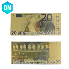 10pcs/lot 24k Gold Foil Plated 20 Euro Bank Notes in Colors, Gold Banknotes Paper Money Wedding Return Gift(China)
