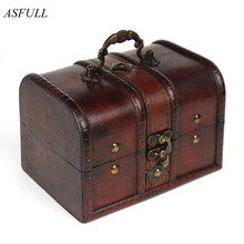 ASFULL 1pcs Chic Wooden Pirate Jewellery Storage Box Case Holder Vintage Treasure Chest for organizer wooden jewe free shipping(China)