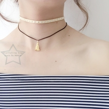 Handmade Chain Charm + 5mm Suede Fabric Rivet & Stainless Steel Jewelry Choker Necklaces(China)
