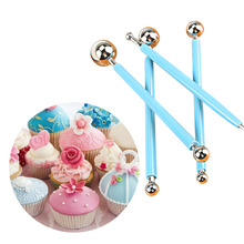 Cute 4pcs/Lot Sugarcarft Fondant Cake Decorating Kit Stainless Steel Molding Ball Sticks Kitchen Accessories Polymer Clay Tools(China)