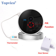 Topvico Wireless Alarm WIFI IP Camera + Door Sensor Detector PIR Sensor 720P 1.0 MP ONVIF P2P Plug Play Cam HOME Security Camera