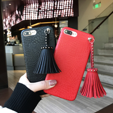 Korean Fashion Crocodile Pattern Soft PU Tassel Shell Phone Case for iPhone 6 6s 6plus 7 7plus Back Cover Case Fundas Couqe(China)