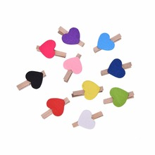 10 PCS Mini Hearts Wooden Bag Clips Multi Color Cute Heart Pegs Photo Bag Clips Xmas Wedding Party Decoration