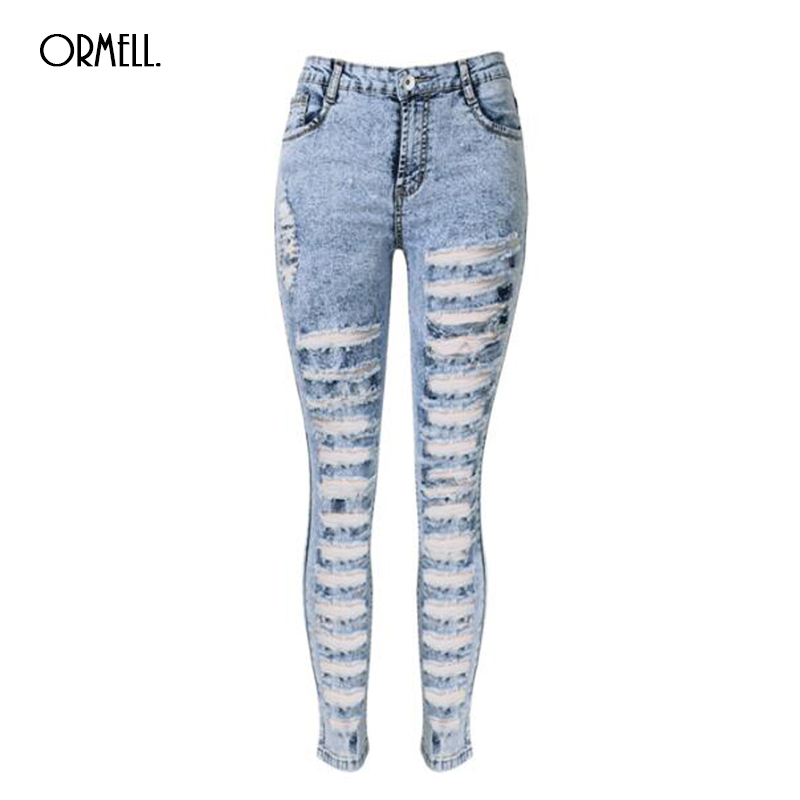 2017 New Style Summer Autumn Fashion Jeans Full Length Pencil Pants High Waist Hole Skinny Causal StyleОдежда и ак�е��уары<br><br><br>Aliexpress