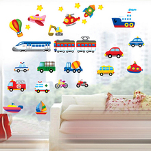 Cartoon Cars Trains Ships Boats Balloon Wall Decal Home Sticker Paper Art Picture DIY Murals kids Nursery Baby Room Decoration
