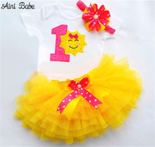 Buy Aini Babe 6-24M Newborn Infant Baby Girls Clothes Sets Toddler Girl 1 Year First Birthday Outfits Yellow Tutu Kids Party Suits for $8.88 in AliExpress store