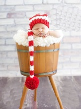 Newborn Crochet Hat, Long-Tail ELF PIXIE STOCKING Hat, Christmas Photo Props, baby shower gift, Red or White Pompom NB-3MONTH