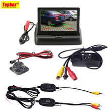 "3in1 Wireless Car Reverse Backup Camera Radar Detector System 4.3"" LCD Rearview Monitor For Vehicle"