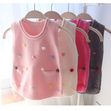 High Quality Baby Infant Kids Cute Fashion Appliques Vest Sweater 2017 Spring Fall Little Girls Knitwear Children Pullovers G823
