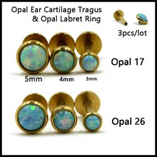 SHUIMEI 3pcs 316l Surgical Steel Opal Ear Cartilage Tragus Piercing,Opal Labret Stud Ring Lip Piercing Body Jewelry Sexy Girls(China)