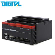 "2016 New 2.5/3.5"" SATA IDE HDD Docking Station Clone HDD Enclosure USB 2 ports USB 2.0 Hub MS/M2/XD/CF/SD/TF Card Reader 480Mbps"