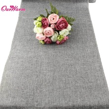 5pcs Table Runner Burlap Natural Jute Imitated Linen Rustic Decor Wedding Hessian four sizes Khaki Gray Tablecloth Party