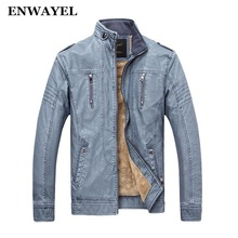 ENWAYEL Autumn Winter PU Male Faux Leather Jacket Men Casual Pockets Thick Warm Velvet Mens Jackets Coat Patchwork Motorcycle(China)