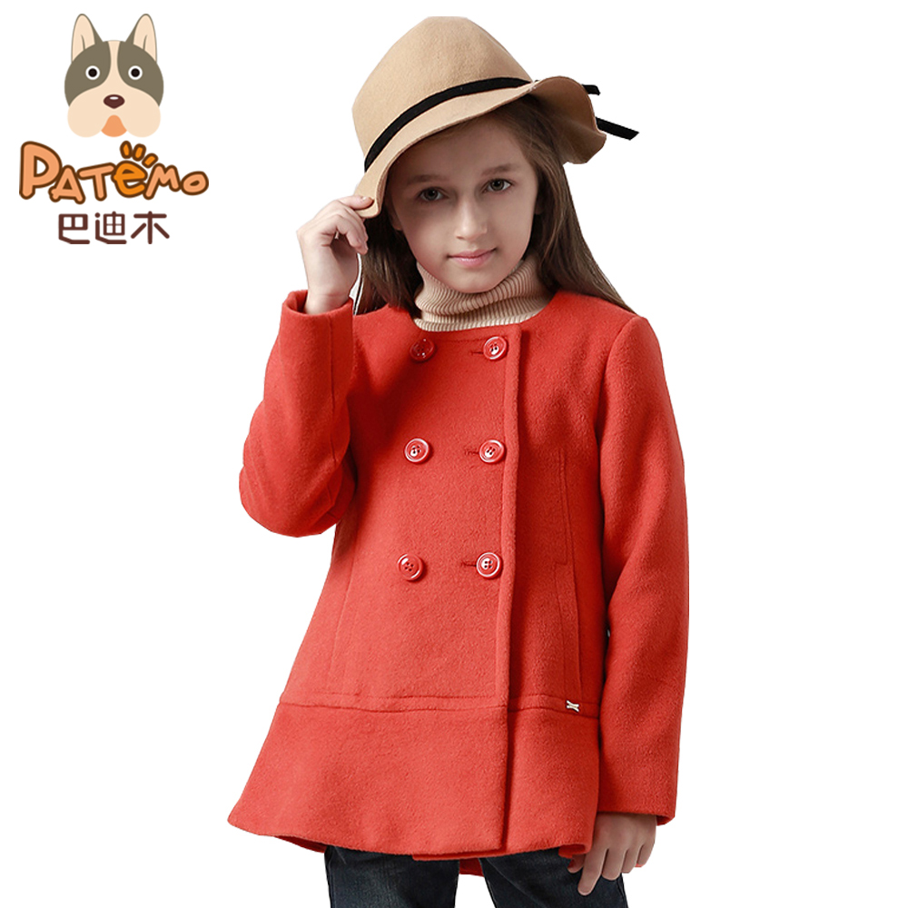 PATEMO Girls Winter Wool Coat O-Neck Double-breasted Childrens Red Wool Coat A-line Version Keep Warm Fashion Kids Clothing<br>