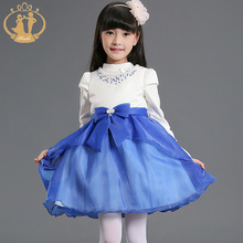 Nimble Girls Beauty Pageant Dress New Blue Princess Flower Ruffle Tulle Organza Wedding Dress menina festa vestido