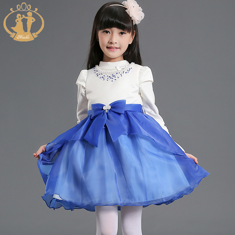 Girls Beauty Pageant Dresses New Blue Girls Summer Flower Ruffle Tulle Organza Wedding Dress menina festa vestido<br><br>Aliexpress