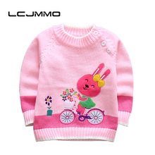 LCJMMO New Baby Girls Sweaters Winter 2017 Cotton Kids Shoulder Buckle Pullover Knitted Clothes For Girl Cartoon rabbit Sweater