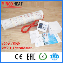 2M2 120v 150W/M2 Twin conductor electric radiant Teflon cable Floor Heating Mat kits  Weekly Programmable Thermostat
