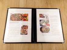 For A4 1/2/3 sheet single dobule three panel plastic menu holder transparent menu book cover
