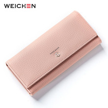 WEICHEN New Style Long Wallets Women Hasp Solid Wallet with Coin Phone Pocket Brand Designer Female Purse Credit Card Holder Bag(China)