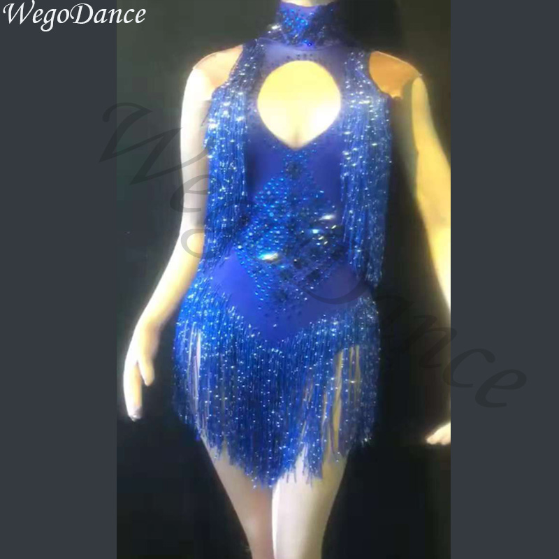 new woman glisten rhinestones sexy bodysuit Silver Long Tassel Costume Birthday Celebrate Dance Wear Luxurious leotard blue