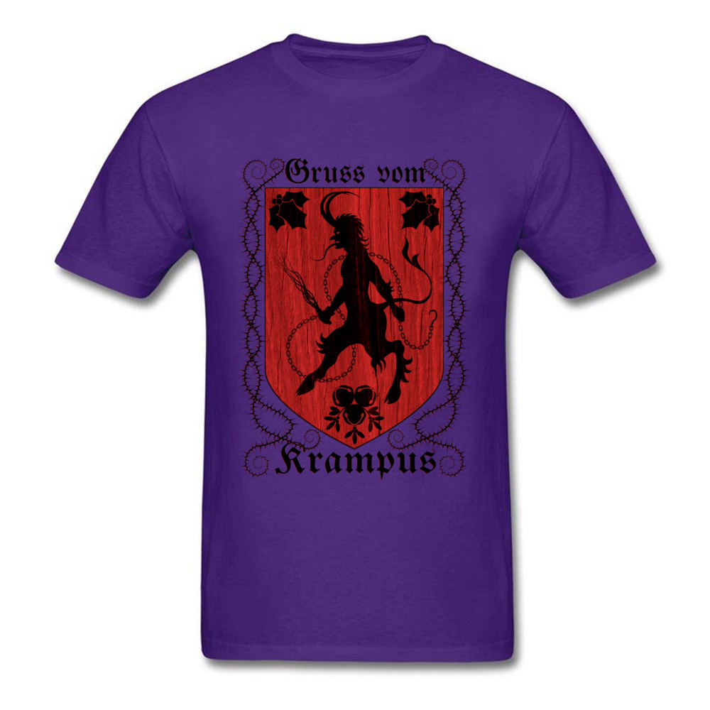 Greetings From Krampus Mens Tshirt Fitted Normal Tops Shirt ostern Day Cotton Fabric Round Collar Tee Shirts Short Sleeve Greetings From Krampus purple