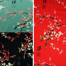 Japanese flower fabric with gold DIY restoring painting plum blossoms printing dyeing Patchwork Cotton Fabric tissus 0.5 meter(China)
