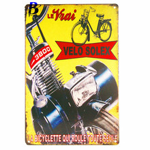 "Wand Decoratie Vintage""Velo Solex"" Vintage Metal Tin Signs Retro Tin Plate Sign Wall Decoration for Cafe Bar Shop Neon Beer Sign"