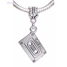 100 Pcs Ancient Silver Retro Cassette Tape Music Album Pendants Charm Beads for European Bracelet 39mm x 22mm