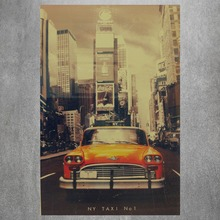 New York Taxi Vintage Retro Posters And Prints Home Decoration   Canvas Painting Modern Wall Art Picture Silk Fabric