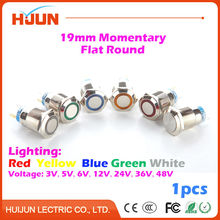 1pcs 19mm Waterproof Momentary Flat Round Stainless Steel Metal Push Button Switch Colorful LED Light Shine Car Horn Auto Reset(China)