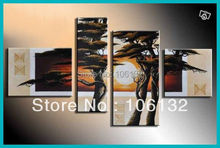 Framed 4 Panel Huge High End Tree Artwork Sunset Landscape Oil Painting Canvas Wall Art Pictures A0222