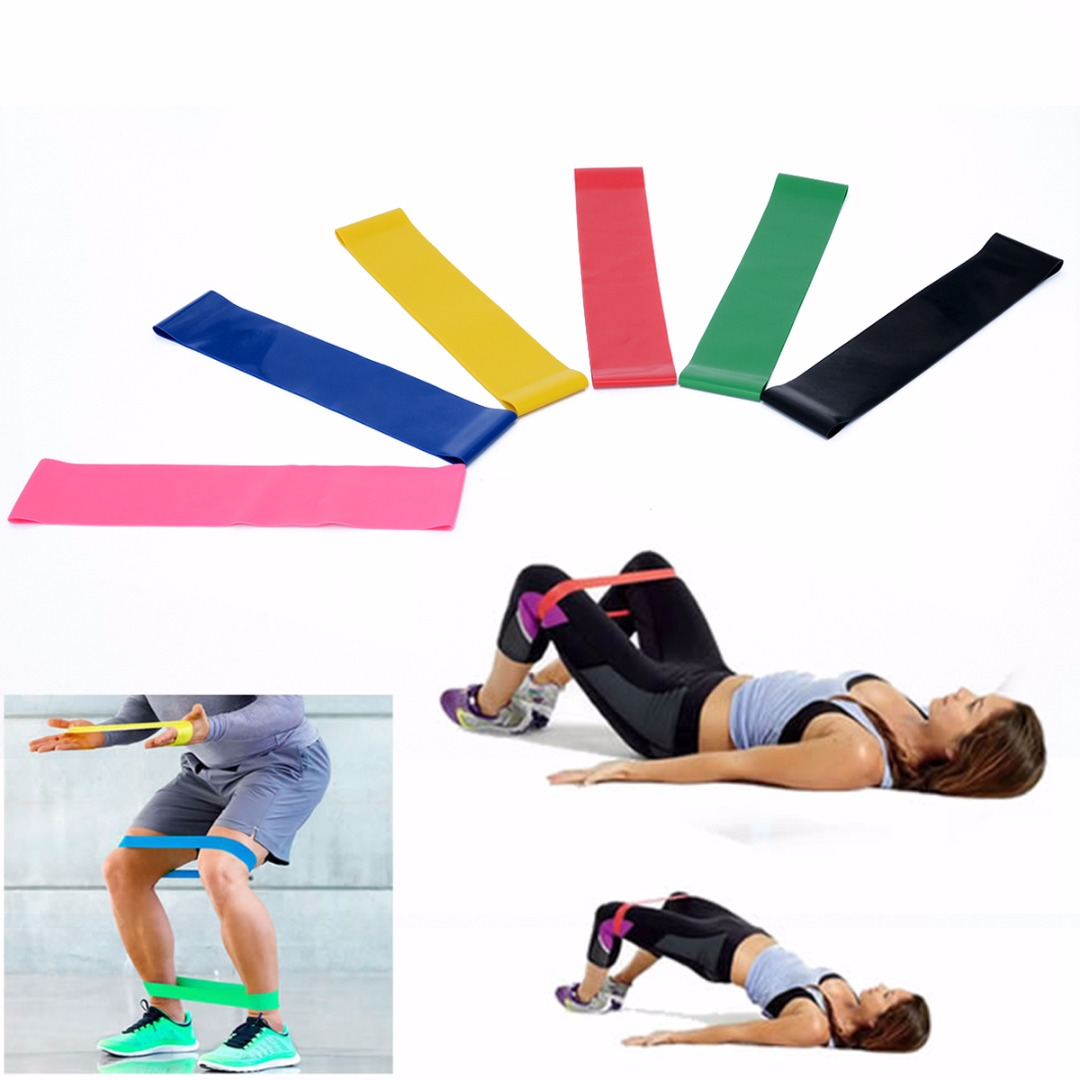 6Pcs/Set Elastic Fitness Yoga Loop Band Natural Latex Tension Resistance Pull Rope Crossfit Body Ankle Leg Exercise Training