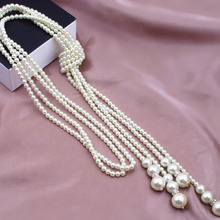 1pc Multilayer Imitation Pearl Bead Necklace Long Knotted Sweater Necklaces for Women Fashion Jewelry(China)