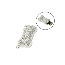 dog bone crystal usb 2.0 usb flash drives thumb pendrive necklace u disk usb creativo memory stick 4GB 8GB 16GB 32GB 64GB(China)