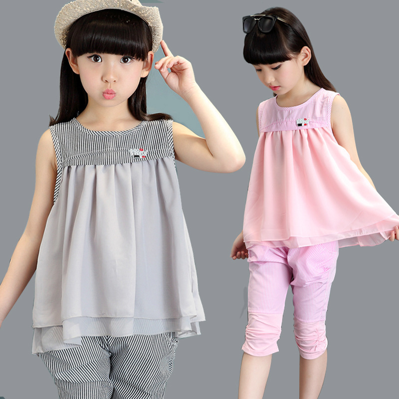 Girl Suit New Pattern Summer Wear Children Pure Cotton Twinset Child 2 Pieces Kids Clothing Sets Suits<br>