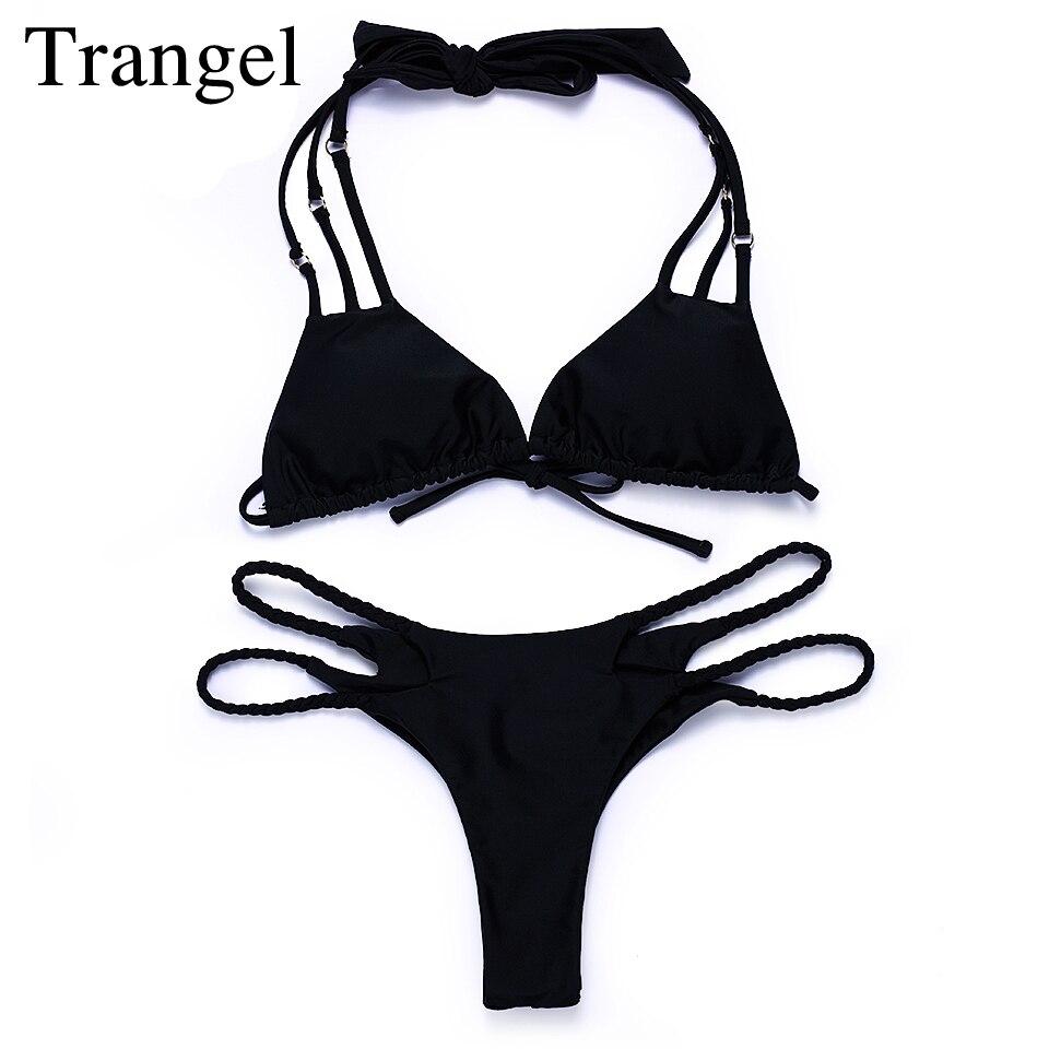 Trangel Halter Bikini 2017 Sexy Black Swimwear Padded String Beachwear Brazilian Bikini Set Solid Strappy Bathing Suit MG027<br><br>Aliexpress