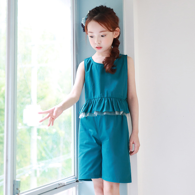 2017 new teenage baby girls clothes suits sleeveless rufles tops vest shorts girls clothing set spring summer 2 pcs kids sets<br>