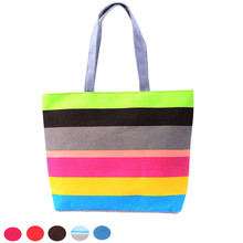 2016 Hot Sale Fashion Women Casual Tote Big Space Shopping Bags Color Striped Handbag Shoulder Canvas Bag Cheap Price