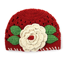 Winter 1-2 Years Baby Girls Beanie Red Knit Hat Crochet Hollow Design Cap(China)