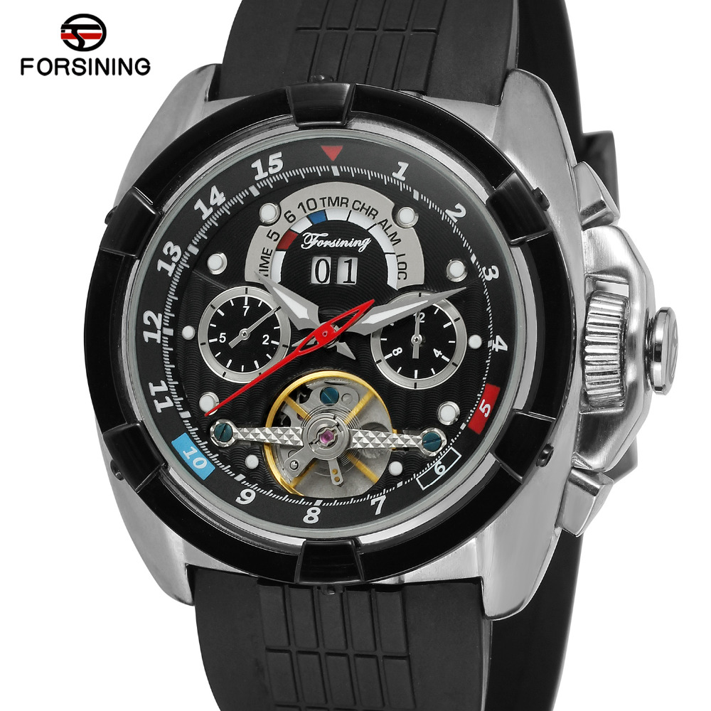 Forsining Mens Watch Automatic Self-wind Rubber Band Calendar Tourbillion Wholesale Brand New Wristwatch Male Color Black<br>