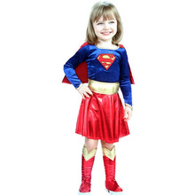 2017 New Kid Girl Supergirl Superman Costume Cover Book Day Children's Day Child Superhero Fancy Dress