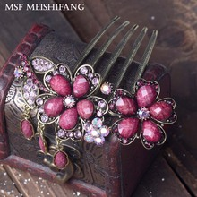 Retro Flower Hairwear Hair Combs Hair Clips Exquisite Antique Bronze Plating Hair Jewelry For Women