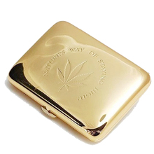 (16 cigarettes)Genuine metal copper Maple Leaf cigarette case,gold color Men womenSlim cigarette box