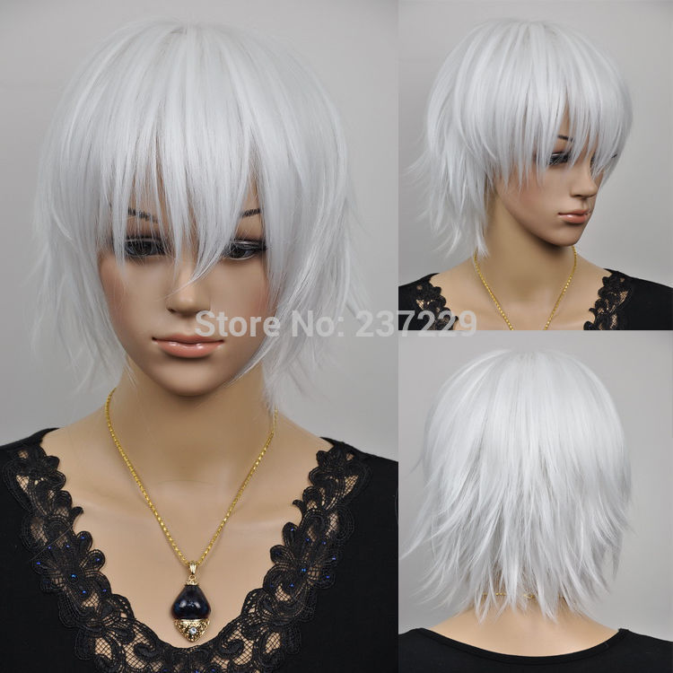 Wholesale price FREE p&amp;P****Heat Resistant Anime The fashion short cosplay silvery white color wigs wig<br><br>Aliexpress